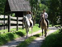 Jodinėjimas žirgais Riešės apylinkėmis dviem